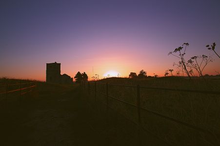 Sunrise over Knowlton Church