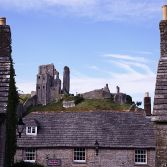 Corfe Castle from the churchyard