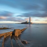 St Mary's Lighthouse at dawn.