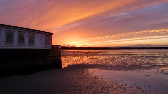 Sunset on the the Shell Bay house boats 2