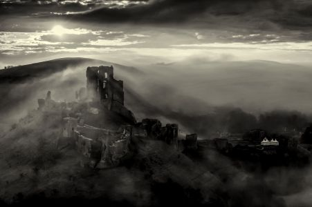 Corfe castle misty sunrsise