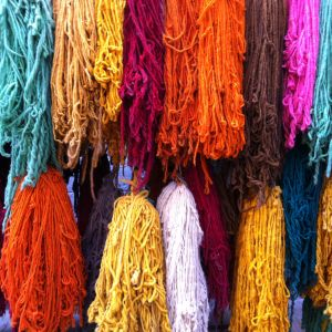 Colorful wool yarn from Morocco