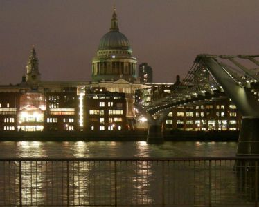 St Pauls and the Millennium Bridge, Rainy Evening