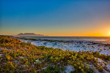 Table Mountain from Beach Near Melkbosstrand