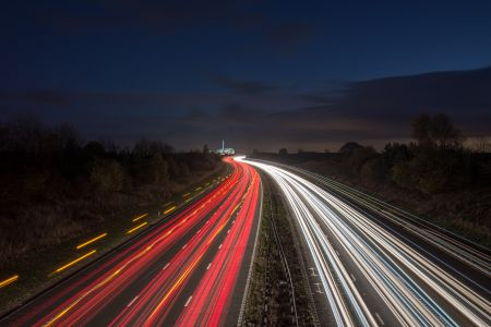 Light trails on the motorway.