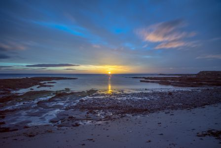 Daybreak at Beadnell bay.
