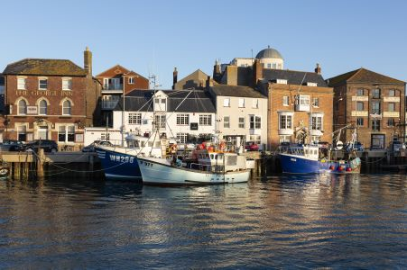 Weymouth Harbour on a beautiful sunny winters morning