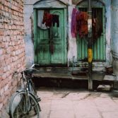 Door and bicycle in Varanasi