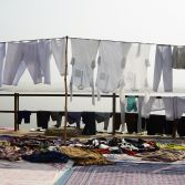 Clothes hanging in the Ganges