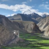 Ladakh 2015 - Leaving Hangkar, horses return for the days trek, Kang Yatze 6,700m looms