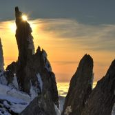 Glyderau traverse, late February sun, eclipsed by the bony fingers of Glyder Fawr