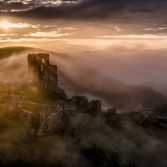 Corfe castle on a misty morning