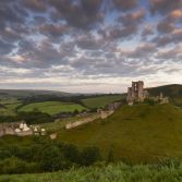 Corfe castle winter morning