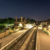 Corfe castle train station at night