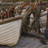 Fishing boat and ropes