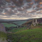 Corfe castle cloudy sunrise