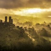 Corfe castle golden hour