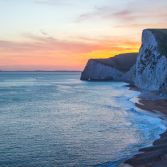 Beautiful sunset at Jurassic Coast