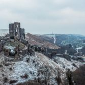 Corfe castle snow