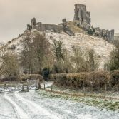 Corfe castle winter landscape