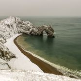 Snow covered Durdle Door