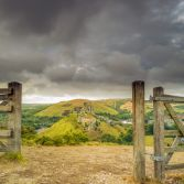 Stormy skies over Corfe Castle