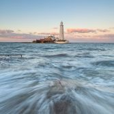 St Marys Lighthouse at High tide