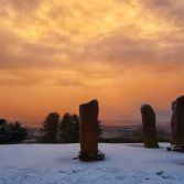 Sunrise before the snowstorm, at the Four Stones Clent Hills