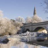 Olney Bridge and Chuch in Winter