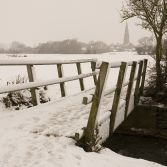 Olney Church and Bridge in the Snow