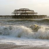Brighton's West Pier in Rough Sea